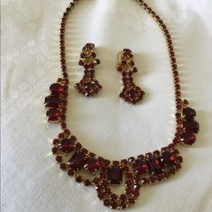 Vintage Ruby Color Necklace and Earrings